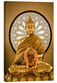 Lærredsbillede  Buddha statue and Wheel of life background