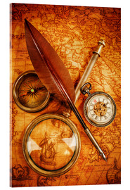Akrylbillede  Compass and Clock