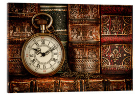 Akrylbillede  Clock in front of books