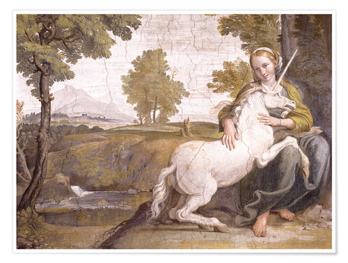 Premium-plakat Young woman with a white unicorn in her arms