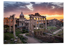 Akrylbillede  Dramatic sunrise at the Roman Forum in Rome, Italy - Jan Christopher Becke