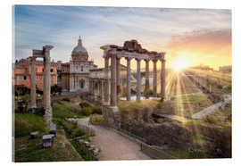 Akrylbillede  Sunset at the Roman Forum in Rome, Italy - Jan Christopher Becke