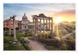 Premium-plakat Sunset at the Roman Forum in Rome, Italy
