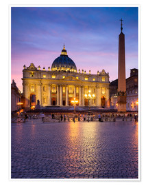 Premium-plakat St. Peter's and St. Peter's Square in Rome, Italy