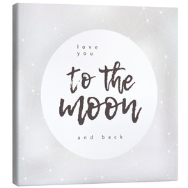 Lærredsbillede  Love you (to the moon and back) - Typobox
