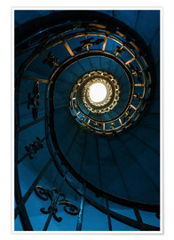 Premium-plakat Spiral staircase in blue colors