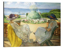 Print på aluminium  Two Young Women on a Terrace by the Sea - Henri Lebasque