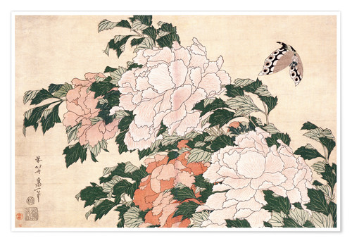 Premium-plakat Peonies and butterfly
