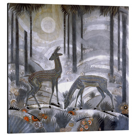 Print på aluminium  Two deer in the woods - Jean Dunand