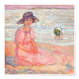 Premium-plakat Woman in the Pink Dress by the Sea