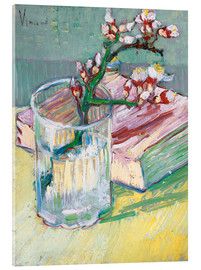 Akrylbillede  Blossoming Almond Branch in a Glass with a Book - Vincent van Gogh