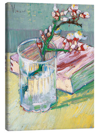 Lærredsbillede  Blossoming Almond Branch in a Glass with a Book - Vincent van Gogh
