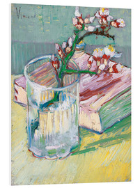Print på skumplade  Blossoming Almond Branch in a Glass with a Book - Vincent van Gogh