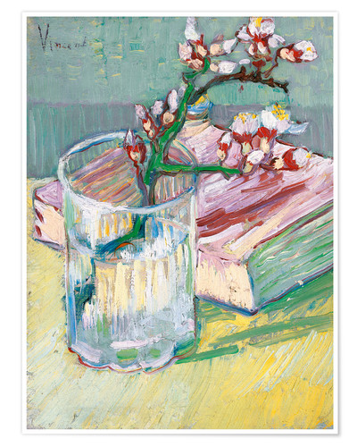 Premium-plakat Blossoming Almond Branch in a Glass with a Book