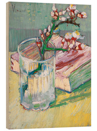 Print på træ  Blossoming Almond Branch in a Glass with a Book - Vincent van Gogh