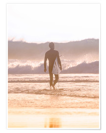 Premium-plakat Lonely surfer on the beach