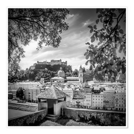 Premium-plakat SALZBURG Gorgeous Old Town with Citywall | Monochrome