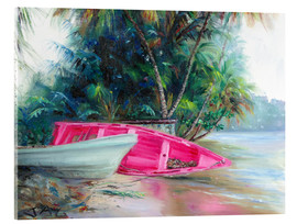 Akrylbillede  pink boat on side - Jonathan Guy-Gladding