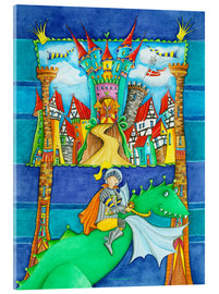 Akrylbillede  Knights Dragon and the Knight's Castle - Atelier BuntePunkt