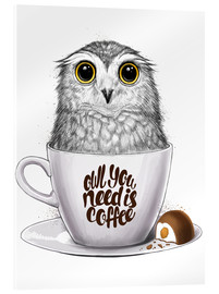 Akrylbillede  Owl you need is coffee - Nikita Korenkov