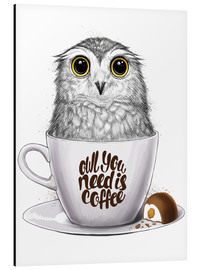 Print på aluminium  Owl you need is coffee - Nikita Korenkov