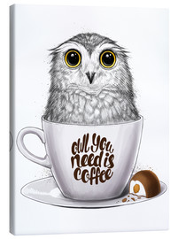 Lærredsbillede  Owl you need is coffee - Nikita Korenkov