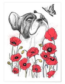 Premium-plakat Pug in flowers