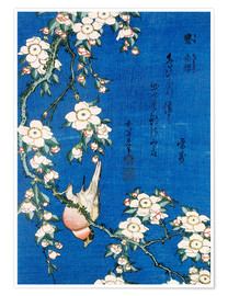 Premium-plakat  Bullfinch and weeping cherry blossoms - Katsushika Hokusai