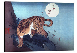 Print på aluminium  Tiger and Full Moon - Katsushika Hokusai