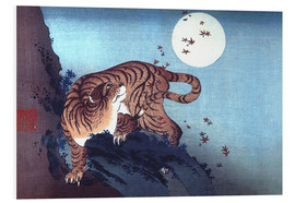Print på skumplade  Tiger and Full Moon - Katsushika Hokusai