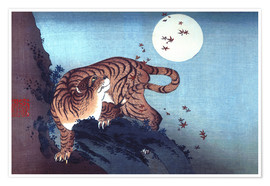Premium-plakat Tiger and Full Moon