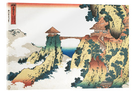 Akrylbillede  The Hanging-cloud bridge at Mount Gyodo, Ashikaga - Katsushika Hokusai