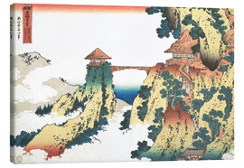 Lærredsbillede  The Hanging-cloud bridge at Mount Gyodo, Ashikaga - Katsushika Hokusai