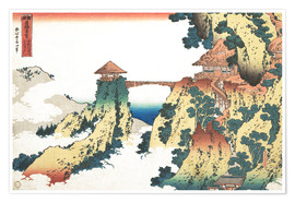 Premium-plakat  The Hanging-cloud bridge at Mount Gyodo, Ashikaga - Katsushika Hokusai