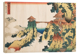 Print på træ  The Hanging-cloud bridge at Mount Gyodo, Ashikaga - Katsushika Hokusai