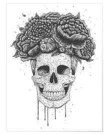 Premium-plakat Skull with flowers