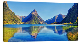 Lærredsbillede  Refleksion ved Mitre Peak, Milford Sound, New Zealand - Michael Rucker