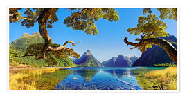 Premium-plakat Look in the Milford Sound New Zealand