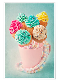 Premium-plakat  Colorful cupcake pops on blue background - Elena Schweitzer
