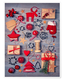 Premium-plakat  Christmas deco auf dem wooden background - Elena Schweitzer