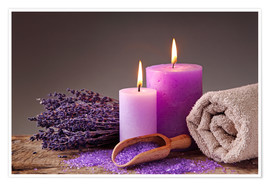 Premium-plakat  Spa still life with candles and lavender - Elena Schweitzer