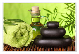 Premium-plakat Spa still life with hot stones and essential oil