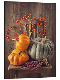 Print på aluminium  Still life with the pumpkins - Elena Schweitzer