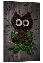 Akrylbillede  Coffee owl from beans, leaves and cups - Elena Schweitzer