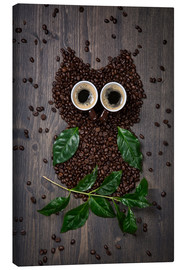 Lærredsbillede  Coffee owl from beans, leaves and cups - Elena Schweitzer