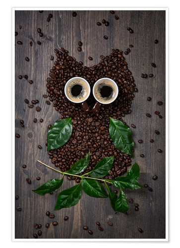 Premium-plakat Coffee owl from beans, leaves and cups