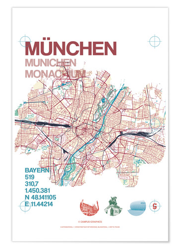 Premium-plakat Munich city map