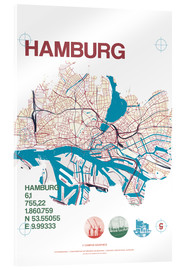 Akrylbillede  Hamburg city motif map - campus graphics