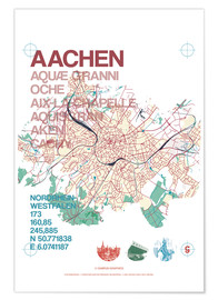 Premium-plakat Aachen city motif map