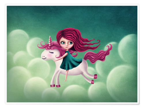 Premium-plakat Illustration with a unicorn with a girl
